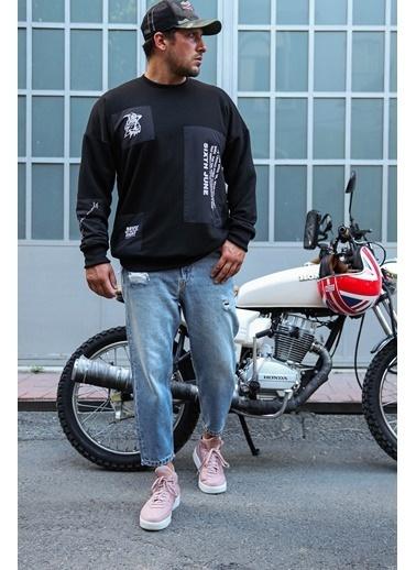 XHAN Siyah Baskılı Sweatshirt 1Kxe8-44320-02 Siyah